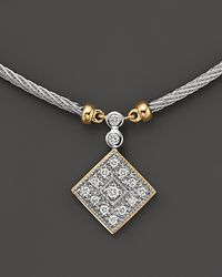Charriol Metallic Classique Square Necklace with Diamonds in 18 Kt Yellow Gold and Stainless Steel