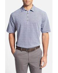 Cutter & Buck - Blue 'gabriel Stripe' Regular Fit Oxford Cotton Polo for Men - Lyst