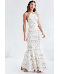 Glamorous Lace Halter Maxi Dress in White | Lyst