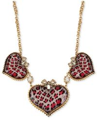 Betsey Johnson | Metallic Gold-Tone Pink Leopard Heart Frontal Necklace | Lyst