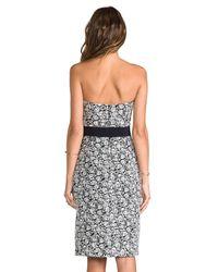 Halston | White Strapless Jacquard Dress | Lyst