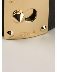 Fendi | Black Chunky Cuff Bracelet | Lyst