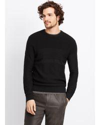 Vince Black Multi Stitch Crew Neck Sweater for men