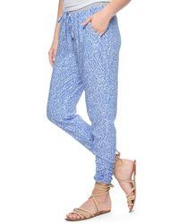Splendid | Blue Paisley Print Track Pant | Lyst