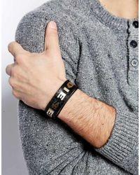 DIESEL   Black Albin Logo Leather Bracelet for Men   Lyst