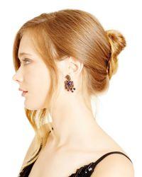 Oscar de la Renta - Purple Magenta Multi Crystal Button Earrings - Lyst