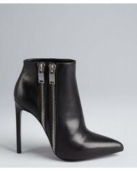 Saint Laurent - Black Leather Double Zipper Detailed Ankle Boots - Lyst