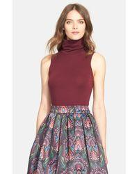 Alice + Olivia Red 'Farley' Sleeveless Turtleneck Sweater