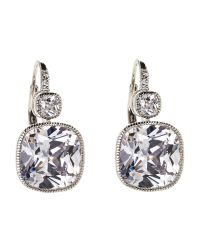 CZ by Kenneth Jay Lane | Metallic Silver-Tone Tsarina Cushion Earrings | Lyst