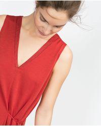 Zara | Orange Top With Tie Waist | Lyst