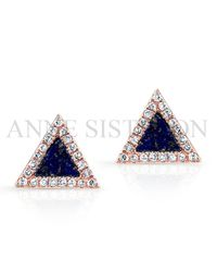 Anne Sisteron | Pink 14Kt Rose Gold Lapis Lazuli Diamond Triangle Stud Earrings | Lyst