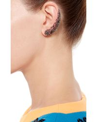 Runa | Metallic Gold With Grey Diamonds Lace Ear Cuff | Lyst