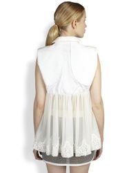 Sacai - White Silk Chiffon Laceback Top - Lyst