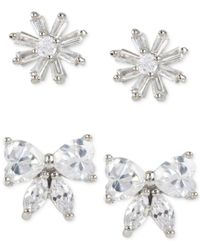 Betsey Johnson | Metallic Silver-tone Crystal Flower Bow Duo Stud Earring Set | Lyst