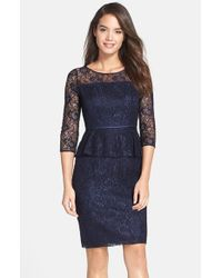 Adrianna Papell | Blue Peplum Lace Sheath Dress | Lyst