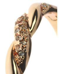 Indulgence Jewellery - Metallic Rose Gold Colour Bangle With Crystals - Lyst