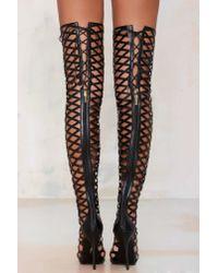 Nasty Gal - Black Fixx Caged Knee-high Heel - Lyst