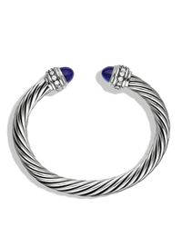 David Yurman Metallic Cable Classics Bracelet With Lapis Lazuli & Diamonds