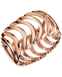 Calvin Klein - Metallic Rose Gold Pvd Curved Link Bracelet - Lyst