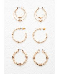 Forever 21 - Metallic Ball-accented Hoop Earring Set - Lyst