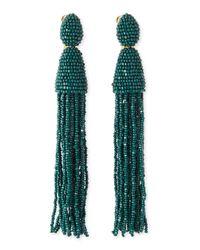 Oscar de la Renta Green Long Beaded Tassel Earrings