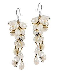 Aeravida | White Cool Cluster Natural Pearl .925 Silver Earrings | Lyst
