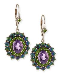 Stephen Dweck - Green Quartz & Amethyst Oval Dangle Earrings - Lyst