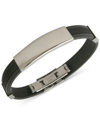 Marc Ecko | Black Mark Ecko Men'S Stainless Steel Rubber Id Bracelet for Men | Lyst