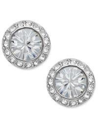 Swarovski   Metallic Silver-tone Crystal Circle Stud   Lyst