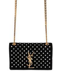 Saint Laurent Black Monogramme Velvet Bag