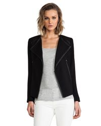 Cut25 by Yigal Azrouël Leather Trim Crepe Jacket in Black