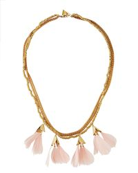 Serefina - Pink Dancing Feathers Statement Necklace - Lyst