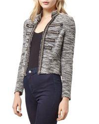 Miss Selfridge Gray Embellished Boucle Jacket