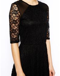 ASOS Black Midi Dress In Sunflower Lace With Shoulder Detail