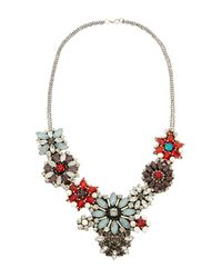 G-Lish - Metallic Gunmetal  Blue Floral Necklace - Lyst