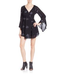 Free People | Black Embroidered Fit-and-flare Dress | Lyst
