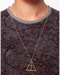ASOS - Metallic Asos Geo Crucifix Pendant Necklace for Men - Lyst