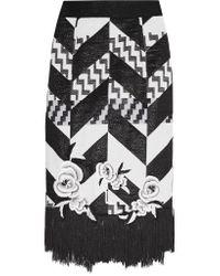 Teatum Jones Black Florence Fringed Jacquard Skirt