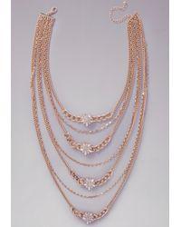 Bebe | Metallic Long Crystal Tier Necklace | Lyst