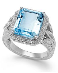 Macy's - Blue Aquamarine (6 Ct. T.W.) And Diamond (1/10 Ct. T.W.) Ring In Sterling Silver - Lyst