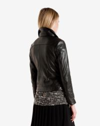 Ted Baker - Black Shearling Trim Leather Jacket - Lyst