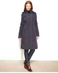 Calvin Klein Gray Hooded Long Quilted Down Puffer Coat