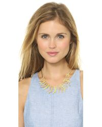 Adia Kibur - Metallic Petal Statement Necklace Lime Multi - Lyst
