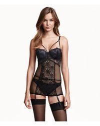 H&M - Black Corset In Lace And Mesh - Lyst