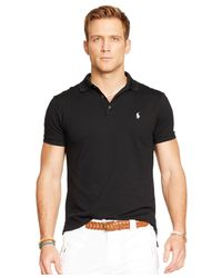 Polo Ralph Lauren - Black Custom-fit Stretch-mesh Polo for Men - Lyst