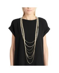 COACH | Metallic Long Tiered Cupchain Pave Necklace | Lyst