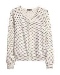 H&M - Natural Fine-Knit Cardigan - Lyst