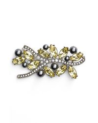 St. John | Metallic Swarovski Crystal & Glass Pearl Brooch | Lyst