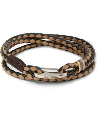 Paul Smith - Brown Two-tone Woven Leather Wrap Bracelet for Men - Lyst