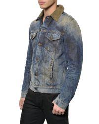 Dolce & Gabbana Blue Casual Denim Jacket with Velvet Collar for men